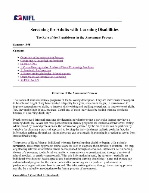 learning disability testing for adults