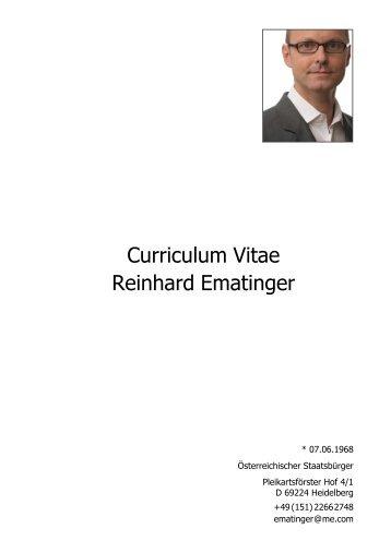 Lebenslauf von Reinhard Ematinger - Dualer Bachelor Logistik