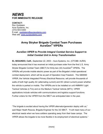 Army Stryker Brigade Combat Team Purchases ... - Aura Systems Inc