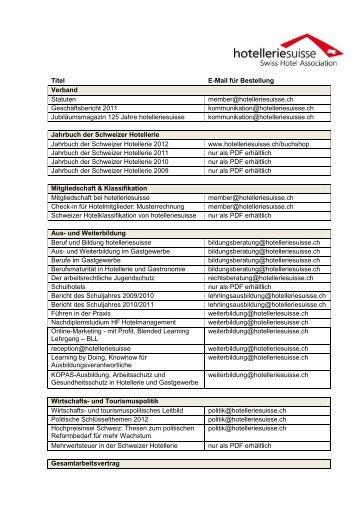 Welche Publikation wo bestellen? (PDF, 108 KB) - hotelleriesuisse