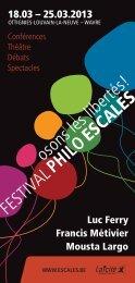 Festival philo Escales 2013 - programme - Enseignement en ...