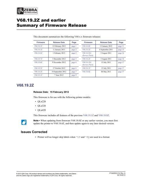 how to update zebra qln320 firmware
