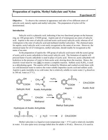 preparation of aspirin and oil of Aspirin synthesis experiment 5 2 the spectroscopic analysis of aspirin will involve the complexing of iron(iii) to the deprotonated form of.