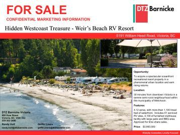 FOR SALE Weir's Beach RV Resort Victoria, BC - DTZ