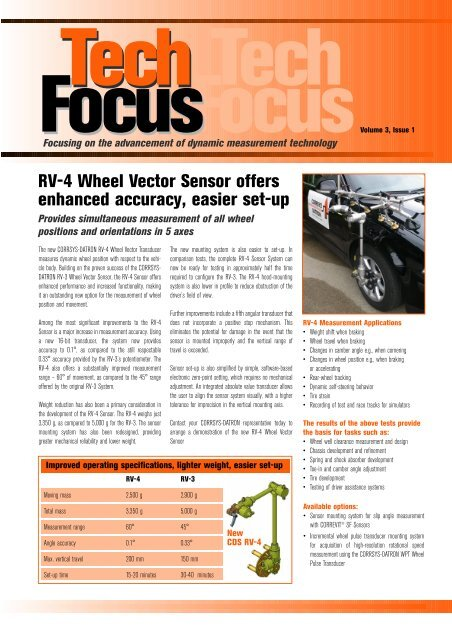 RV-4 Wheel Vector Sensor offers enhanced accuracy, easier set-up