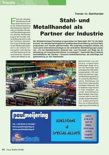 Focus Rostfrei: Trends im Stahlhandel - Günther + Schramm Stahl