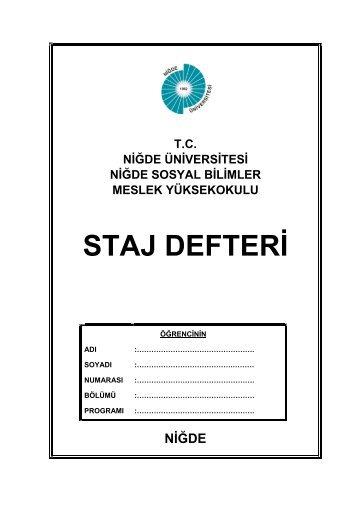 STAJ DEFTERİ - Niğde Sosyal Bilimler Meslek Yüksekokulu