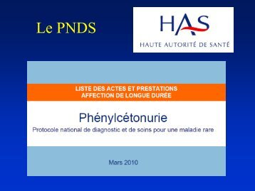 Comment appliquer le PNDS phénylcétonurie ? (PDF) (544 ... - SFEIM