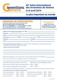 Demande de participation 2014 4 pages FR - Salon International ...