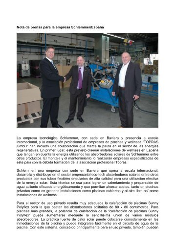 Nota de prensa para la empresa Schlemmer/España La ... - Topras