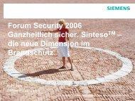 Sinteso FS20 - Die neue Dimension im Brandschutz - Security-Forum