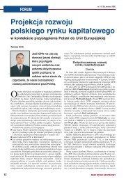 FORUM Projekcja rozwoju polskiego rynku kapita∏owego w ...