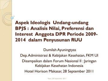 Analisis Nilai, Preferensi dan Interest Anggota DPR Periode 2009