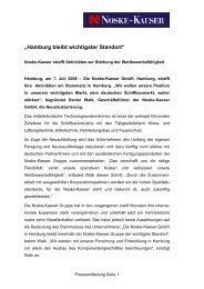Hamburg bleibt wichtigster Standort - Noske-Kaeser GmbH
