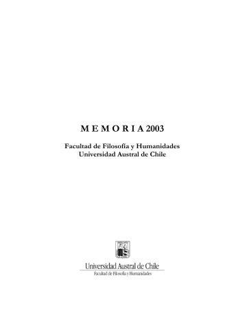 MEMORIA 2003 Facultad de Filosofía y Humanidades