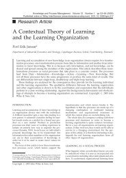 A contextual theory of learning and the learning organization