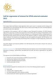 Call for expression of interest for EPHA external evaluator 2012