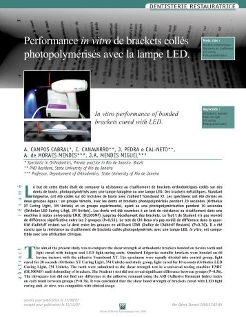 Performance in vitro de brackets collés photopolymérisés ... - SOP