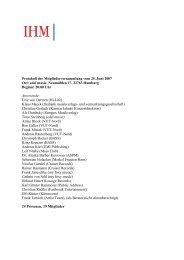 Protokoll der Mitgliederversammlung vom 25. Juni 2007 Ort ... - IHM