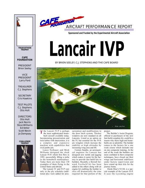 Lancair IV-P - CAFE Foundation