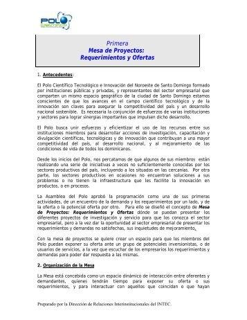 Primera Mesa de Proyectos: Requerimientos y Ofertas - CEDAF