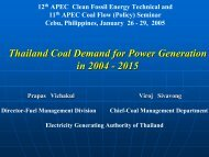 Thailand Coal Demand for Power Generation in 2004 - 2015