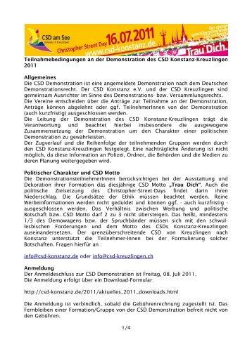 Teilnahmebedingungen an der Demonstration des CSD Konstanz ...