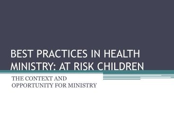 at risk children - Healthcare Missions Conference