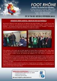 PV N°79 DU JEUDI 2 FEVRIER 2012