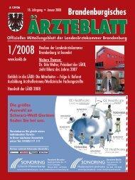 Brandenburgisches Ärzteblatt 01/2008 - qs- nrw