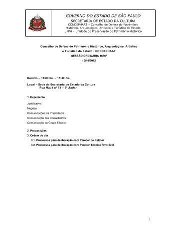 Pauta 1686 de 15/10/2012 - Secretaria de Estado da Cultura ...