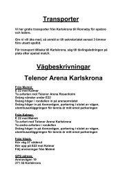 Transporter Vägbeskrivningar Telenor Arena Karlskrona