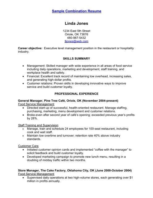 sample wait staff resume