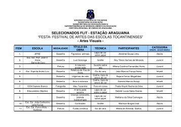 Selecionados - FESTA/Flit - Estação Araguaína - Diretoria Regional ...