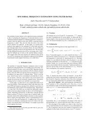 Sinusoidal frequency estimation using filter banks - Caltech