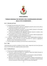 forum comunale dei giovani e delle aggregazioni giovanili della citta ...