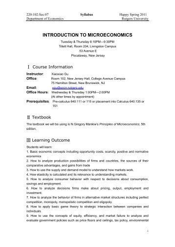 Introduction to Microeconomics AP/ECON 1000 3.0DF