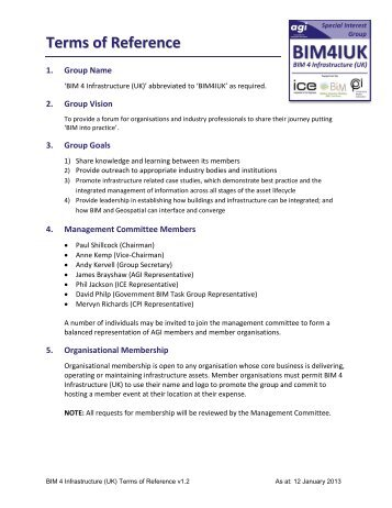 Terms of Reference - BIM Task Group