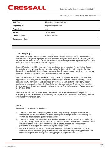 Design Engineer Job Description - Sample Ideas