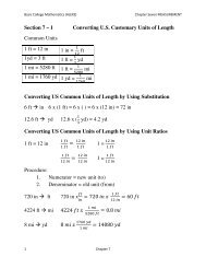 Section 7 – 1 Converting U.S. Customary Units of Length Common ...