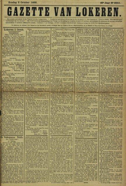 Zondag 2 October 1892. 49° Jaar N° 2551. Lokeren 1 Octob. De ...