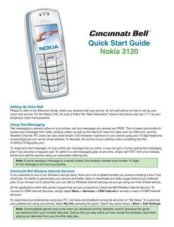 Quick Start Guide Nokia 3120 - Cincinnati Bell