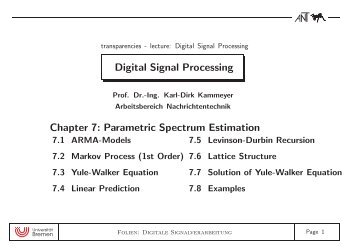 Digital Signal Processing Chapter 7: Parametric Spectrum Estimation