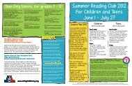 Summer Reading Club 2012 For Children and Teens June 1 - July 27