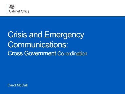 Crisis and Emergency Communications: - primo