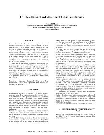 ITIL Based Service Level Management if SLAs Cover Security