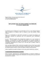 Réflexions sur les soins donnés aux mineurs - Conseil National de l ...