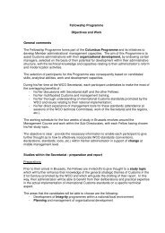 Fellowship Programme Objectives and Work General comments The ...