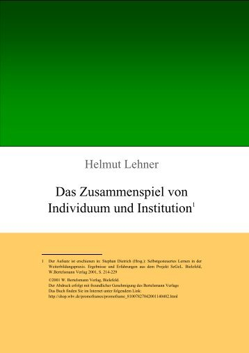 Download als PDF - Auswirkungen auf die Institution