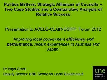 Politics Matters: Strategic Alliances of Councils ... - CLAIR Sydney